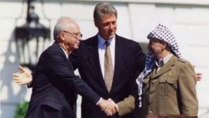 Isaac Rabin, Bill Clinton y Yasser Arafat - Acuerdos de Paz de Camp David entre Israel y Palestina
