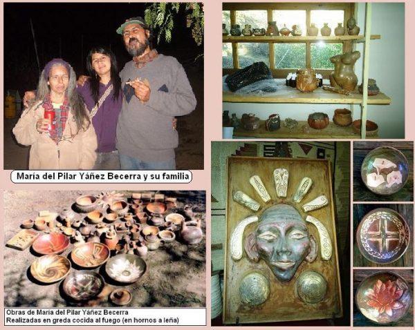 foto de la familia y algunas obras en greda cocida