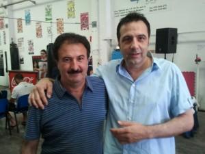 Alfonso de campos (Antena Zaragoza) a la dcha., con Paco Beltrán, Presidente de Asociación Nacional de Entrenadores de Fútbol Sala