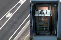 Marcas de detectores enterrados y estación de toma de datos. Imagen: SICE / Ayuntamiento de Madrid.