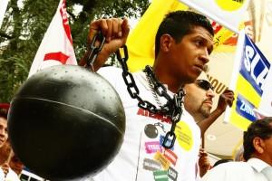 Protesta contra el trabajo esclavo en Brasil