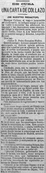 Carta de Enrique Collazo