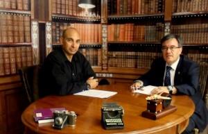 Raúl Tristán (izda.) entrevista a Ángel Dolado (dcha.), Juez Decano de Zaragoza, en 'El Lobo Estepario'. Programa nº 28, 22 de mayo de 2014