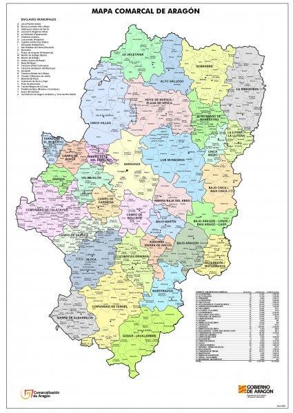 731 municipios, 33 comarcas