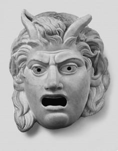 Entre dioses y hombres. Máscara de Sátiro. S. de II aC a I dC. Dresde, Skulpturensammlung Staatliche Kunstsammlungen.